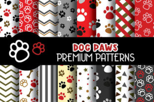 Print on Demand: Dog Paws Red Digital Papers Pattern Graphic Patterns By Grafixeo