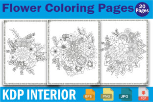 Flower Coloring Pages Adults for Kids Graphic Coloring Pages & Books By mdrakibul1n1a