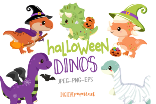 Print on Demand: Halloween Spooky Dinos Graphic Illustrations By DigitalPapers