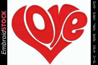 Love in Heart Shape Valentine's Day Embroidery Design By embroidstock