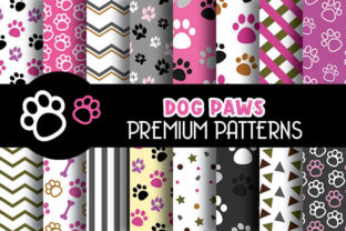 Print on Demand: Pink Dog Paws Digital Papers Patterns Graphic Patterns By Grafixeo