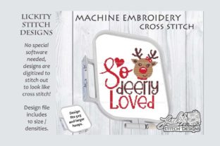 So Deerly Loved Reindeer Christmas Embroidery Design By Lickity Stitch Designs