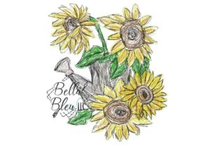 Sunflower Scribble 10 Bouquets & Bunches Embroidery Design By Bella Bleu Embroidery