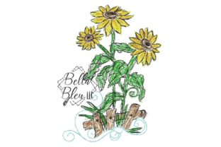 Sunflower Scribble 3 Bouquets & Bunches Embroidery Design By Bella Bleu Embroidery