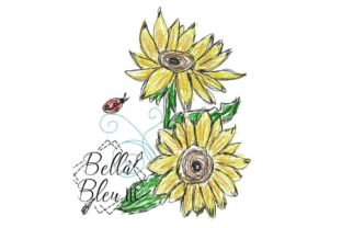 Sunflower Scribble 4 Bouquets & Bunches Embroidery Design By Bella Bleu Embroidery