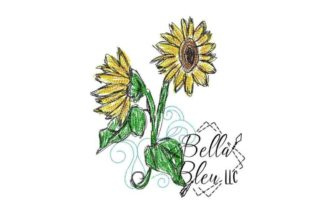Sunflower Scribble 5 Bouquets & Bunches Embroidery Design By Bella Bleu Embroidery