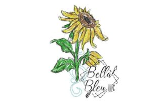 Sunflower Scribble 6 Single Flowers & Plants Embroidery Design By Bella Bleu Embroidery
