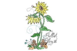 Sunflower Scribble 7 Bouquets & Bunches Embroidery Design By Bella Bleu Embroidery