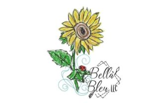 Sunflower Scribble 8 Single Flowers & Plants Embroidery Design By Bella Bleu Embroidery