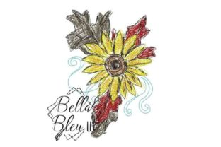 Sunflower Scribble 9 Single Flowers & Plants Embroidery Design By Bella Bleu Embroidery