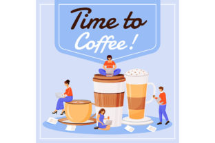 Print on Demand: Time to Coffee Social Media Post Mockup Graphic Graphic Templates By natalia1891991