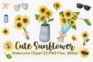 Print on Demand: Cute Sunflower Watercolor Clipart Graphic Illustrations By AchitaStudio
