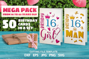Print on Demand: Happy Birthday Cards Mega Pack 50 Cards Graphic 3D SVG By MosdiStudioTemplate