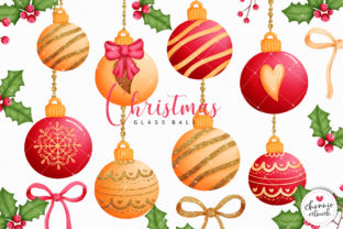 Print on Demand: Red and Gold Glitter Christmas Ball Graphic Illustrations By Chonnieartwork 1