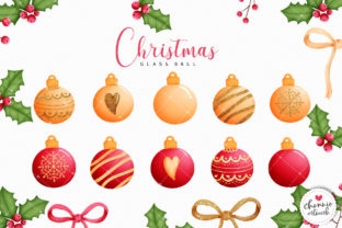 Print on Demand: Red and Gold Glitter Christmas Ball Graphic Illustrations By Chonnieartwork 2