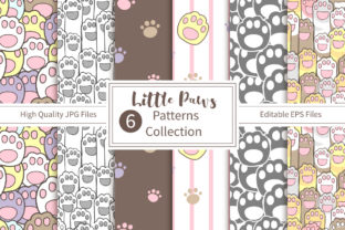 Print on Demand: Cute Paws Seamless Pattern Collection Graphic Patterns By DrawStudio1988