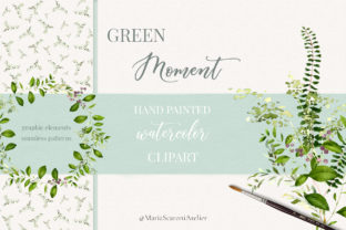 Print on Demand: Green Moment - Watercolor Clipart Graphic Illustrations By MariaScaroniAtelier