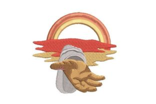Hand Reaching Down with Sunset Religion & Faith Embroidery Design By Embroidery Designs
