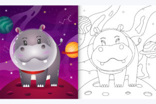Hippo Space 2 - Coloring Page Graphic Teaching Materials By wijayariko