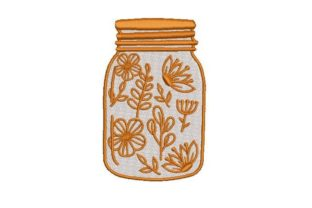 Mason Jar Filled with Flowers Outline Flowers Embroidery Design By Embroidery Designs