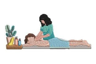 Masseuse at Work Work & Occupation Embroidery Design By Embroidery Designs