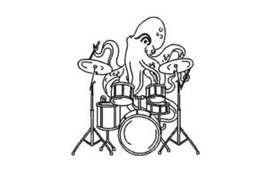 Octopus Playing Drum Line Art Marine Mammals Embroidery Design By Embroidery Designs