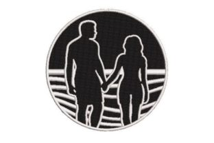 People Walking into a Sunset Valentine's Day Embroidery Design By Embroidery Designs