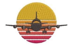 Retro Plane Silhouette with Sunset Transportation Embroidery Design By Embroidery Designs