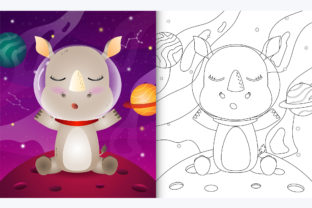 Rhino Space 4 - Coloring Page Graphic Coloring Pages & Books By wijayariko