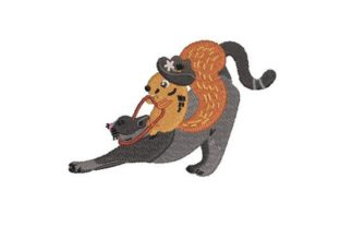 Rodeo Squirrel on a Cat Cowboy & Cowgirl Embroidery Design By Embroidery Designs