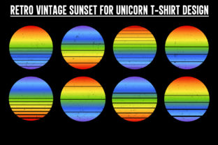Print on Demand: Unicorn Sunset Colorful Background Graphic Backgrounds By T-Shirt Tees