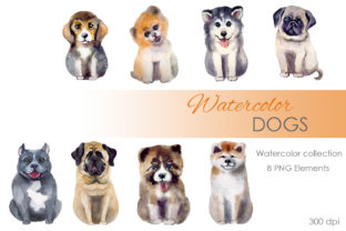 Print on Demand: Watercolor Clipart. Dog Clipart Png Graphic Illustrations By KomtsyanTatyanaArt