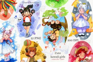 Print on Demand: Watercolor Clipart, Cute Kawaii Girls. Graphic Illustrations By CherrypearStudio