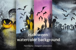 Print on Demand: Watercolor Background  for Halloween Graphic Backgrounds By aekgasit