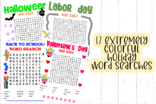 Print on Demand: 17 Colorful Interactive Work Word Search Graphic 4th grade By tiffanator606