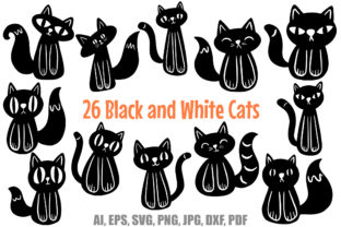 Print on Demand: 26 Cute Black and White Halloween Kitten Graphic Illustrations By squeebcreative