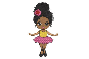 African American Ballerina Boys & Girls Embroidery Design By Canada Crafts Studio