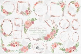 Print on Demand: Blush Pink Wedding Flower Gold Templates Graphic Print Templates By CreartGraphics