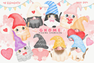 Cats Gnome Kitty Clipart Watercolor Graphic Illustrations By amaydastore