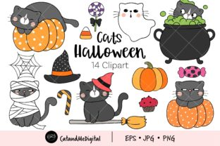 Cats Halloween Clipart Graphic Illustrations By CatAndMe