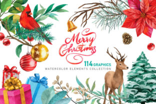 Print on Demand: Christmas Watercolor Elements Graphics Graphic Illustrations By nesdigiart