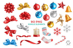 Print on Demand: Christmas Watercolor Elements Graphics Graphic Illustrations By nesdigiart 2