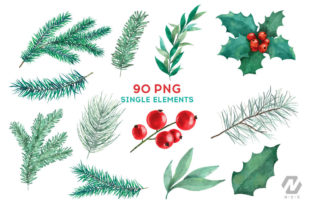 Print on Demand: Christmas Watercolor Elements Graphics Graphic Illustrations By nesdigiart 3