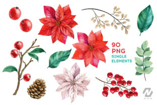 Print on Demand: Christmas Watercolor Elements Graphics Graphic Illustrations By nesdigiart 4