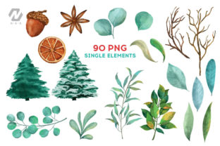 Print on Demand: Christmas Watercolor Elements Graphics Graphic Illustrations By nesdigiart 5
