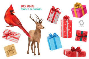 Print on Demand: Christmas Watercolor Elements Graphics Graphic Illustrations By nesdigiart 6
