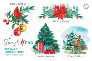 Print on Demand: Christmas Watercolor Elements Graphics Graphic Illustrations By nesdigiart 9