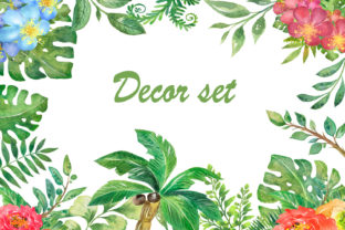 Decor Set. Watercolor  Tropical  Leaves Graphic Add-ons By EvArtPrint