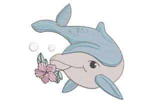 Dolphin with Flower Marine Mammals Embroidery Design By Canada Crafts Studio