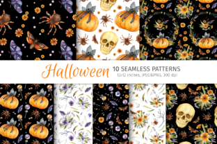 Print on Demand: Gothic Halloween Seamless Patterns Graphic Patterns By ValinMalin